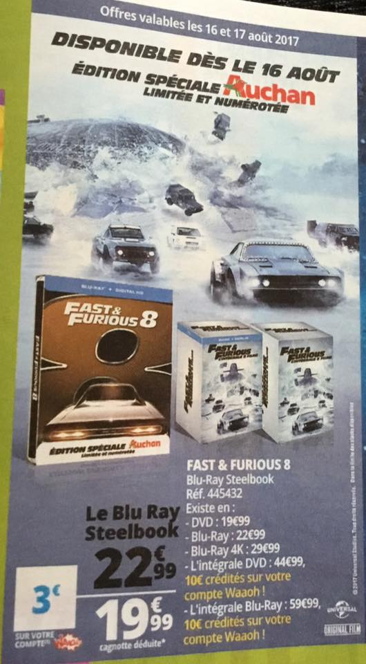 Fast and Furious 8 steelbook Auchan